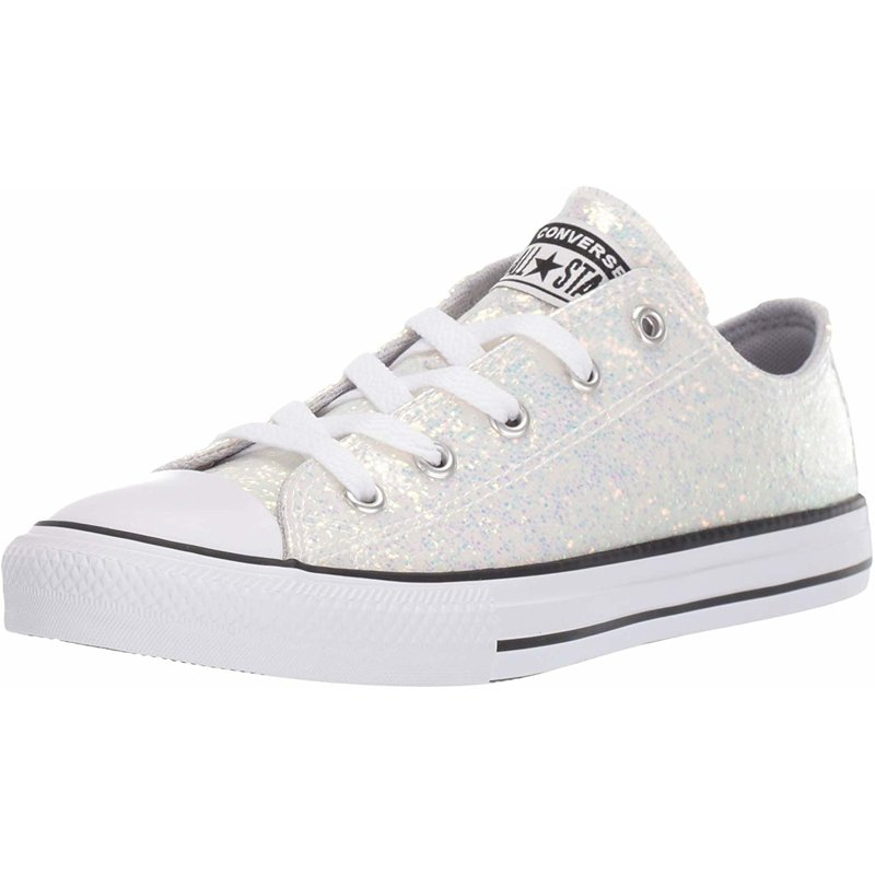 Details about Converse Chuck Taylor All Star Coated Glitter Ox Wolf Gray Synthetic Youth