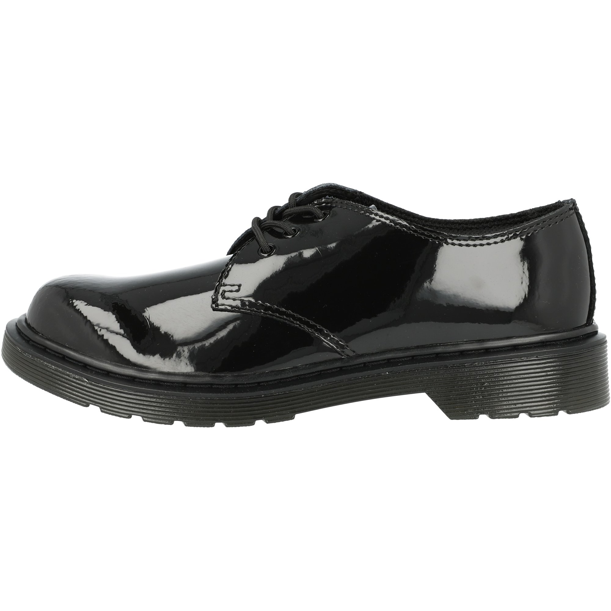 Dr.Martens Everley Black Youth Patent Lamper Leather Derby Lace-up School Shoes