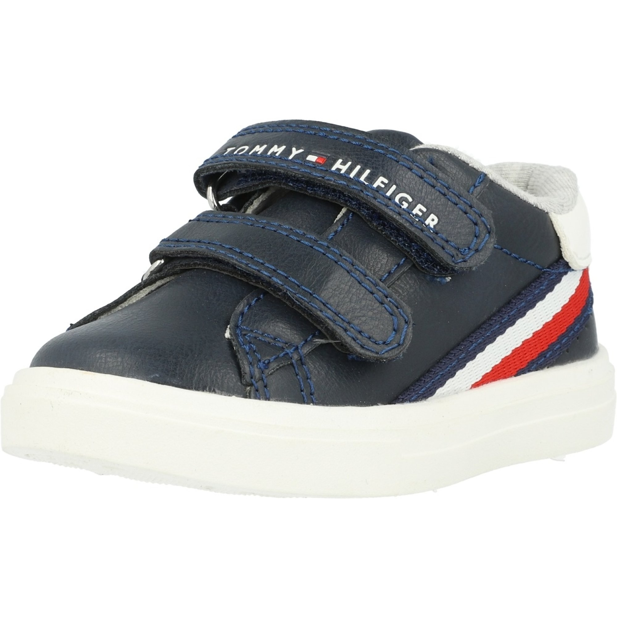 new styles later best sale Tommy Hilfiger Trainer Blue/White Eco Leather - Sneakers Shoes ...