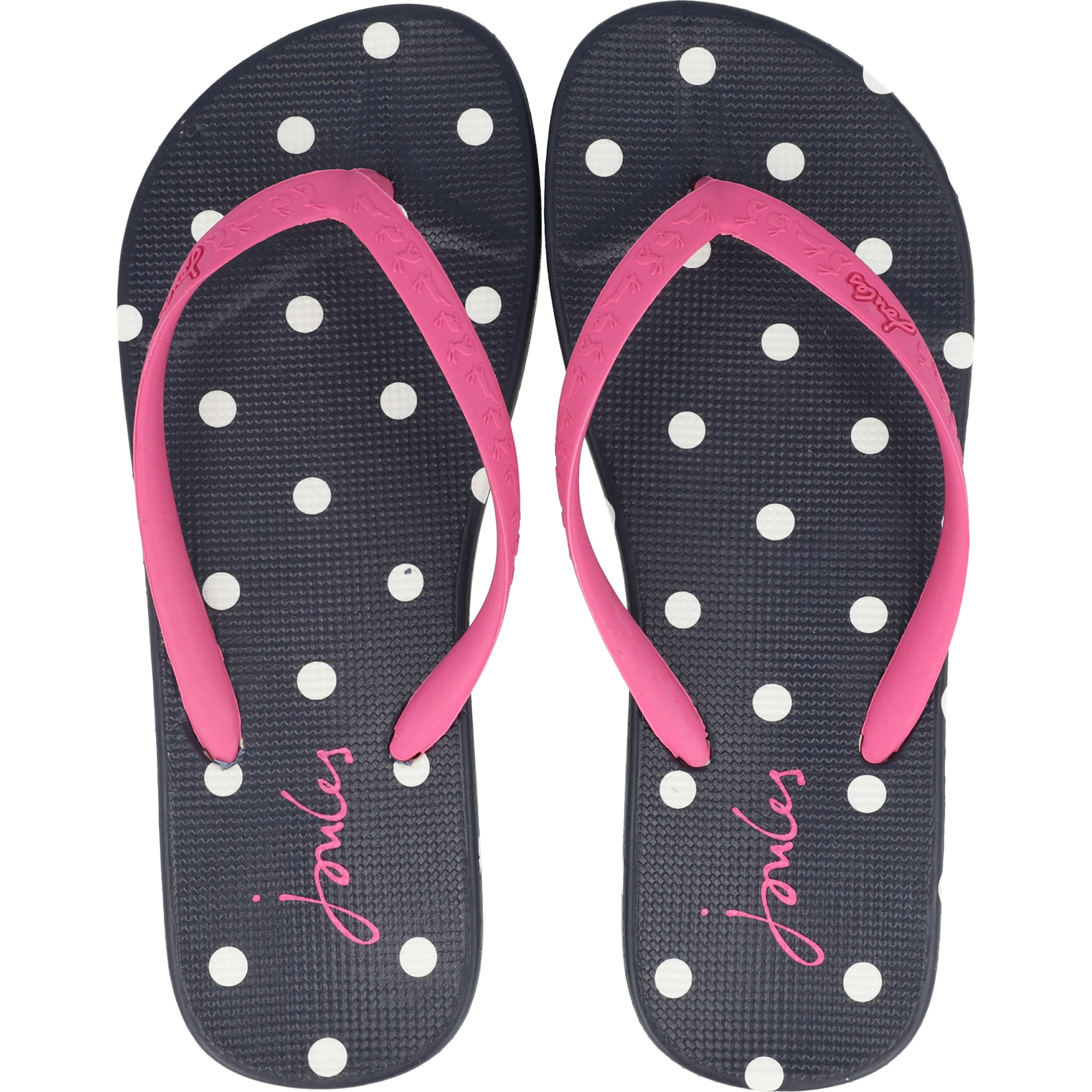 Joules Printed Moulded Flip Flop Spot French Navy Rubber -1977