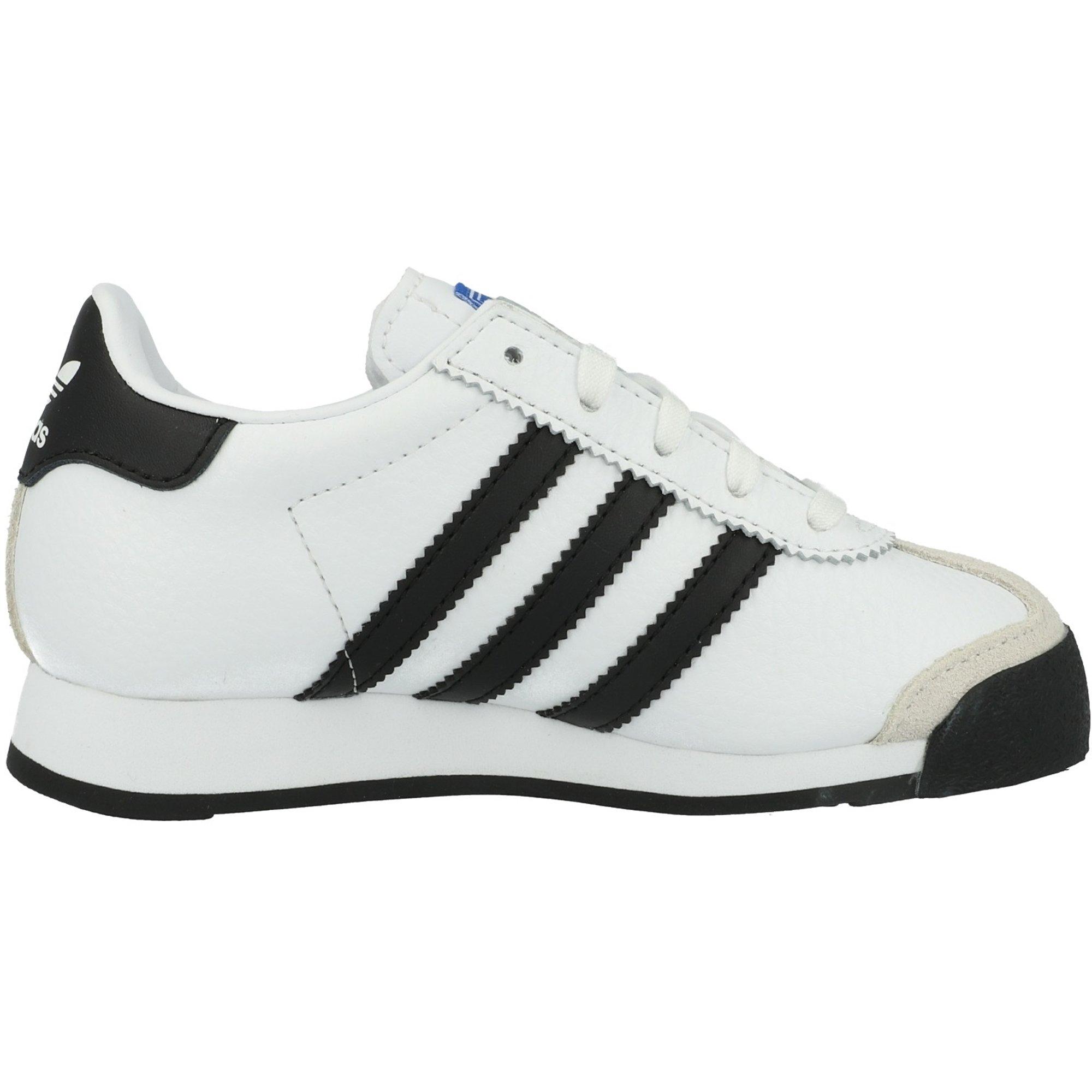adidas Originals Samoa C White//Black Leather Junior Trainers Shoes