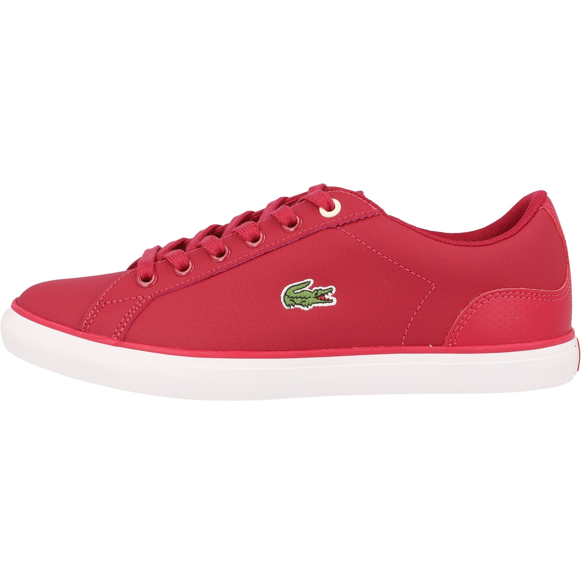 Synth/étique Junior Formateurs Chaussures Dark Pink//Off White Lacoste Lerond 319 1 Rose//Blanc