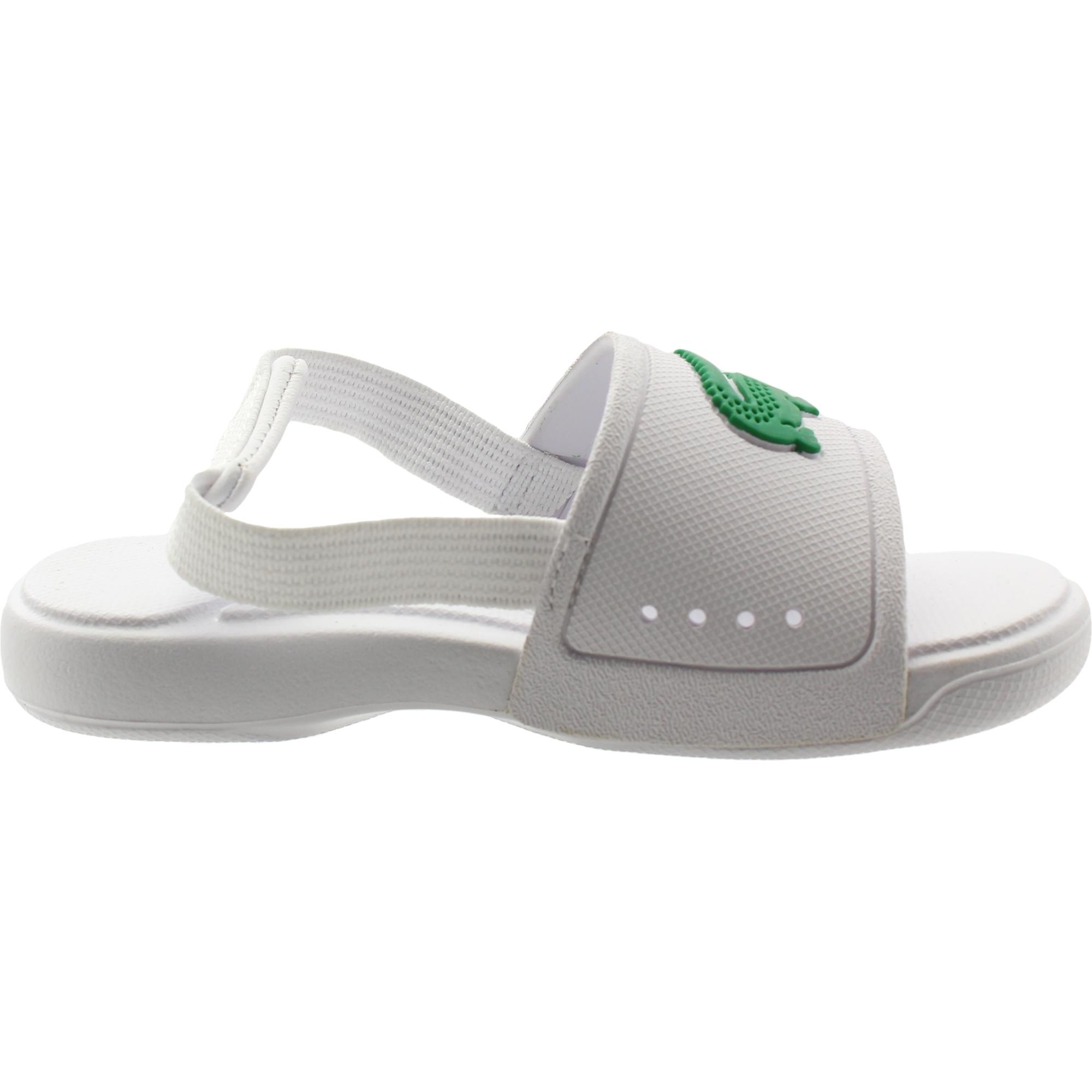 Lacoste L.30 Slide 119 2 White//Green Rubber Baby Slides Sandals